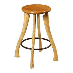 Counter Height Ax Handle Stool - This beautiful handcrafted stool has some elements that make you go hmmm. It's the legs; they look familiar because they are made of ax handles.