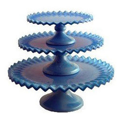 Blue 12 in. Ruffled Cake Stand - Is it just me, or do these ruffles look like chevrons? I love this shade of blue.