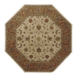 Surya - Crowne 8 Ft Octagonal Border Rug in Tan and Multi - CRN6004-8OCT - An octagonal shape adds visual interest to this striking wool rug, enhanced by a soft floral pattern and a lush chocolate brown and beige color palette. Perfect for a dining room, foyer or living room, the rug is hand tufted by artisans in India for enduring beauty and long lasting style. Hand-tufted. Made in India. 100% Wool