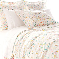 """Pine Cone Hill - PCH Parama Duvet Cover - Watercolor-inspired hues lend visual intrigue to the PCH Parama duvet cover. With a vibrant color palette, this white bedding showcases a modern floral pattern. Button closure; 100% cotton; Insert not included; Machine wash; Available in twin, full/queen and king sizes; Designed by Pine Cone Hill, an Annie Selke company Twin: 68""""W x 88""""H; Full/queen: 88""""W x 88""""H; King: 102""""W x 92""""H"""