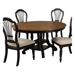 Hillsdale Furniture - Hillsdale Wilshire 56x56 Round to Oval Dining Table - The Wilshire collection features a blend of cottage styling with country accented details. The blend of Americana and English country gives the Wilshire collection a look and feel that will enhance any home. The craftsmanship is evident in each piece. Opening a drawer is a reflection of old world craftsmanship, complete with tongue and groove drawer bottoms, English dovetail drawer construction and thick solid wood drawers. Finishes have been painstakingly applied to give years of enjoyment.