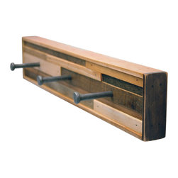 Six Finger Studios - 3 Hook Coat Rack Recycled Wood (Kubala Style), 3 Hook - 3 Hook Coat Rack Recycled Wood (Made to Order)