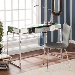 Upton Home - Upton Home Adelie Mirrored Writing Desk - This Upton Home mirrored writing desk adds contemporary glam to any room. The mirrored tabletop and sleek chrome-plated legs form a unique,eye-catching piece that will brighten your home. A convenient storage drawer adds functionality as well.