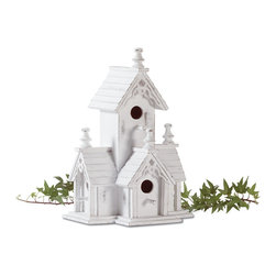 """Anzy - Wood Distressed Victorian Birdhouse - Victorian-style birdhouse features four roomy perches. Distressed white-finished wood with gingerbread trim has an heirloom look.  Measures:  8 1/2"""" x 6 1/2"""" x 12 1/2"""" high."""
