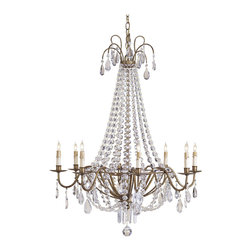 Kathy Kuo Home - Versaille Classic Crystal Swag 8 Light Chandelier - Lavish use of authentic crystals, draped as swags and hanging as faceted drops make this chandelier a grand statement of formal beauty, worthy of the name Versailles.