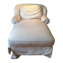 Jennifer Convertibles White Canvas Chaise - Retail Price: $650