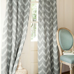 Chevron Jacquard Drapery Panel - Jacquard woven in rows of chevron stripes, our grey and ivory window panels add just the right dose of color and pattern without overpowering the room.