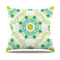 "Kess InHouse - Anneline Sophia ""Let's Dance Green"" Teal Floral Throw Pillow (26"" x 26"") - Rest among the art you love. Transform your hang out room into a hip gallery, that's also comfortable. With this pillow you can create an environment that reflects your unique style. It's amazing what a throw pillow can do to complete a room. (Kess InHouse is not responsible for pillow fighting that may occur as the result of creative stimulation)."