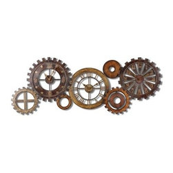 Spare Parts Triple Wall Clock - 54W in. - Not just a clock the Spare Parts Triple Wall Clock - 54W in. is also a beautiful piece of wall art. Made from hand-forged metal this sculpture has three clock faces each with a different style. A combination of finishes from dark chestnut brown to antiqued gold and silver is accented by burnished details to provide an overall weathered look.About Uttermost:The mission of the Uttermost Company is simple: to make great home accessories at reasonable prices. This has been their objective since founding their family-owned business over 30 years ago. Uttermost manufactures mirrors art metal wall art lamps accessories clocks and lighting fixtures in its Rocky Mount Virginia factories. They provide quality furnishings throughout the world from their state-of-the-art distribution center located on the West Coast of the United States.