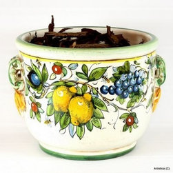 Artistica - Hand Made in Italy - Majolica: Round Cachepot - Majolica Collection:
