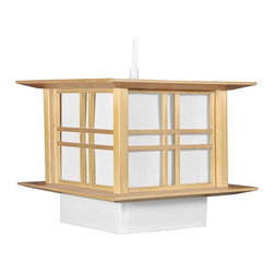 Oriental Furniture - Akida Hanging Lamp - Natural - This Akida Hanging Lamp employs a classic wooden double-cross design to bring a sophisticated Oriental accent to yThis home or business.