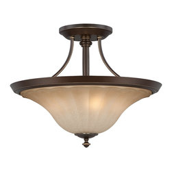 Quoizel - Quoizel ALZ1718PN Aliza Transitional Semi Flush Mount Ceiling Light - Aliza is elegant and stylish?a beautiful collection for today?s home. Featuring sleek oval tubing and a versatile Palladian Bronze finish, this collection compliments any décor with trumpeted fluted glass in a soft gradient amber mist.