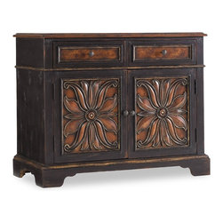 "Hooker Furniture - Grandover Two Drawer Two Door Chest - White glove, in-home delivery included!  Grandover is a high-drama European traditional collection updated for today with a modern outlook and functional details.  A striking two-tone finish of exotic elegance combines hardwood solids with Golden Madrone Burl, Walnut, Cherry, Maple and Birch veneers, bordered by black handpainting and subtle, handrubbed gold accents for an aged and acquired look.  Two drop-front drawers, two doors with one adjustable shelf.  Cabinet space: 34"" w x 18"" d x 20 1/2"" h  Drawers: 15 7/8"" w x 16"" d x 5"" h"