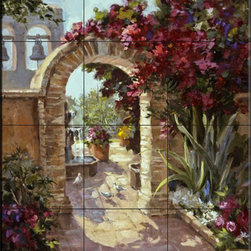 The Tile Mural Store (USA) - Tile Mural - Sacred Garden - Mj - Kitchen Backsplash Ideas - This beautiful artwork by Maxine Johnson has been digitally reproduced for tiles and depicts an archway leading from the garden.  This garden tile mural would be perfect as part of your kitchen backsplash tile project or your tub and shower surround bathroom tile project. Garden images on tiles add a unique element to your tiling project and are a great kitchen backsplash idea. Use a garden scene tile mural for a wall tile project in any room in your home where you want to add interesting wall tile.
