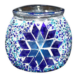 Art-Win Lighting CH11006 Handmade Mosaic Candle Holder, Blue - Handmade in Istanbul, Turkey. Hand-crafted item is produced with glass-on-glass technique. Tradition of centuries is now available for you. Fine handmade mosaic lamps that require years of experience and specialized craftsmanship are carefully manufactured by Art-Win Lighting.