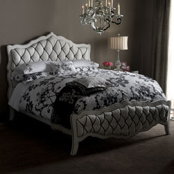 """Monique"" Bed & ""Monochromatic"" Nightstand - The Monique bed is elegant, feminine and uniquely styled with a padded headboard and footboard covered with ribbon-tufted fabric.   # Queen bed, 84""L x 68""W x 61""T.# King bed, 82""L x 83""W x 61""T.# California king bed, 86""L x 81""W x 61""T. Pricing is for Queen size."