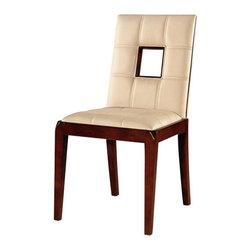 International Design - Set of 2 Chloe Leather Dining Chairs - Enhance your home decor with Chloe dining chairs. Dining furniture is made of solid wood for a sturdy look and feel. Chair is upholstered in cream-colored leather . Beautiful hand-stitching in leather on front and back . Set includes two chairs. Frame made of Solid Beechwood. Dark Walnut finish. No Assembly Required. 19 in. L x 22 in. W x 35 in. H (18 lbs)