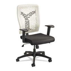 Safco - Safco Voice Series Task Chair, Plastic Back, Upholstered Seat, Black Seat/Latte - Contoured back for optimal comfort. Modern back design will not only give your workspace a great look, but helps keep you cool throughout the workday. Upholstered seat for relaxed sitting. Blend these options together for a chair that perfectly reflects you.