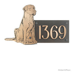 """Labrador Dog Address Plaque 21"""" x 12"""" in Bronze Patina - You love your Labrador and she is a part of your house, so it makes sense to have a Labrador Dog Addresss Plaque to identify your home address. This Dog shaped Canine Address Plaque features a well-behaved Lab sitting patiently and waiting for his next assignment, or pet, or snack. You can just about see his tail wag. Your best friend!"""