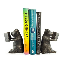 Danya B. - Pigs Metal Bookend Set - This pair of decorative bookends is an essential addition to the home of pig lovers. Each bookend features an adorable pig reading a book. Made of iron with tarnish-proof bronze finish with gold patina, these bookends look great on shelves, bookcases, mantels, or desks and they make a thoughtful gift for a friend.