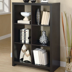 """Monarch - Cappuccino Hollow-Core 48""""H Room Divider Bookcase - This cool contemporary bookcase will make a bold addition to your home office or living room. The unique asymmetrical step style of this cube shelving unit features clean sharp lines, in a rich dark finish that will really make a statement. Add books, pictures, and decorative accent items on the top of the piece and on its six shelves for a one-of-a-kind look with real personality. This open bookcase is the perfect choice for your contemporary home.;Features: Color: Cappuccino;Weight: 66 lbs.;Dimensions: 31.5""""L x 15.75""""W x 48""""H"""