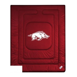 Sports Coverage - Arkansas Razorbacks Bedding - NCAA Comforter - Full - Show your team spirit with this great looking officially licensed University of Arkansas Razorbacks comforter. This Razorbacks comforter is made from 100% Polyester Jersey Mesh - just like what the players wear. The fill is 100% Polyester batting for warmth and comfort. Featuring authentic Arkansas Razorbacks team colors, each comforter has the authentic University of Arkansas Razorbacks logo screen printed in the center. Soft but durable. Machine washable in cold water. Tumble dry in low heat. Covers are 100% Polyester Jersey top side and Poly/Cotton bottom side. Each comforter has the team logo centered on solid background in team colors. 5.5 oz. Bonded polyester batts. Looks and feels like a real jersey!
