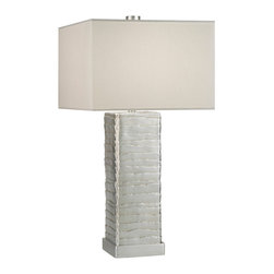 Fine Art Lamps - Recollections Table Lamp, 836310ST - Table lamp in a platinized silver leaf finish with a beige laminated shade. Shades of laminated cream fabric with stream-lined, rolled-over edges. CA Title 20 Compliant. 50-100-150 watt A-21 bulb, medium base light bulb. UL Listed, standard metallic socket, in socket 3 way switch. Shade dimensions: 16 x 16, 16 x 16 ,11 Bulb(s) not included.