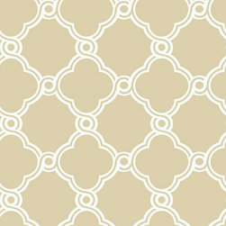 Ballard Designs - Fretwork Trellis Wallpaper Beige/White Double Roll - Geometric pattern. Double roll. Unpasted. Washable. Strippable. In this stylish wallpaper, a mid-sized graphic trellis half-moon pattern reminiscent of Moroccan art and architecture comes together to form perfect open circles where they meet. We love the pattern for its beautifully clean use of line and color. Fretwork Trellis Wallpaper features: . . . . .