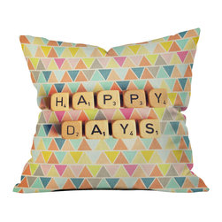 DENY Designs - Happee Monkee Happy Days Throw Pillow - Wanna transform a serious room into a fun, inviting space? Looking to complete a room full of solids with a unique print? Need to add a pop of color to your dull, lackluster space? Accomplish all of the above with one simple, yet powerful home accessory we like to call the DENY throw pillow collection! Custom printed in the USA for every order.