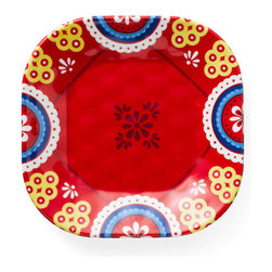 Q Squared NYC - Montecito Red Emblem Appetizer Plate - Transport your dining table to historical Montecito with the beautiful, vibrant colors of this collection, inspired by the intricate tiles and textures of the romantic city.