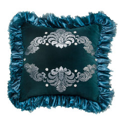 Brandi Renee Designs - Dark Teal Hand Stenciled Ruffle Trim Pillow - A little bit of color can go a long way!  This luxurious, teal accent has a powerful, yet soothing, appearance that is sure to amaze. The polyfill insert is super comfy, so it's a great accessory piece for the sofa, chair, or bed. You won't be able to keep your hands off this gorgeous pillow. The smooth suede fabric is decorated with hand stenciled ornamentation, and is framed with a silky ruffle trim. There's nothing like a brilliant pop of color to really brighten up a space.