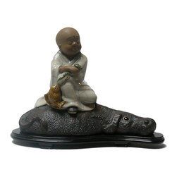 """Golden Lotus - Chinese Kid Lohon On Ox Ceramic Figure - Dimensions:   15"""" x 8"""" x h11.5"""""""