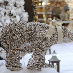 Lit Twig Polar Bear - Brighten up the outdoor winter nights with a twinkly winter wonderland. This sparkly polar bear would look so pretty outside this holiday season.