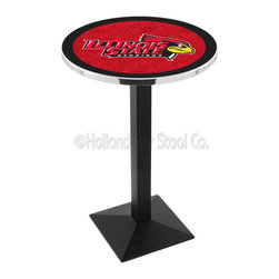 Holland Bar Stool - Holland Bar Stool L217 - Black Wrinkle Illinois State Pub Table - L217 - Black Wrinkle Illinois State Pub Table belongs to College Collection by Holland Bar Stool Made for the ultimate sports fan, impress your buddies with this knockout from Holland Bar Stool. This L217 Illinois State table with square base provides a commercial quality piece to for your Man Cave. You can't find a higher quality logo table on the market. The plating grade steel used to build the frame ensures it will withstand the abuse of the rowdiest of friends for years to come. The structure is powder-coated black wrinkle to ensure a rich, sleek, long lasting finish. If you're finishing your bar or game room, do it right with a table from Holland Bar Stool. Pub Table (1)