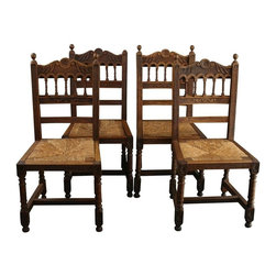 EuroLux Home - Consigned Antique Brittany Style Dining Chairs Carved - Product Details