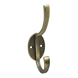 Stanley Home Designs Modern Coat and Hat Hook, Antique Brass - I'm loving the modern design of this coat hook. The brass finish keeps it from coming off as too sleek or trendy. I'd hang a trio near the front door for guests.