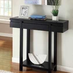 None - Black Finish Console Sofa Entry Table with Drawer - This tiered entry table is a great way to add character to your room. The simple design has a beautiful black finish that will look great with any decor. It is made of hardwood and MDF for maximum durability and style, and the shelves allow storage.