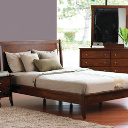 Brasilia Bed - The look is clean and simple with elegant tapered legs. Finished with a cherry stain. This is a great value.