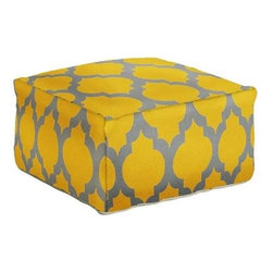 Surya - Gold and Gray Poufs in Two Sizes by Surya - A simplistically patterned 100% wool ottoman is available in two sizes for your comfort. Add a chic pop of color to your room with this sunshine gold and storm cloud gray pouf. (SUR)