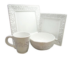 Jay Import Co - Bianca Leaf Square 16 Piece Dinnerware Set - Dine on something a little different. Squared-off plates with decorative leaf motif borders frame your food and bring a special touch to your table.
