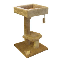 "MAJESTIC PET PRODUCTS - 34"" Kitty Cat Perch - Covered in designer carpet, with a rope wrapped scratching post, this cat perch will keep your cat entertained all day. She can scratch, play with the dangling toy, and take a nap in the upper perch. Easy for humans to assemble."