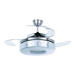 ParrotUncle - Modern Style Satin Nickel LED Ceiling Fan with Round Shape Shade - Renew the look of your living room or dining room with this glamorous ceiling fan in your décor. This stylish ceiling fan features satin nickel finish with acrylic blades which can be folded into the body. A light kit with an round shade brightens up your room. With the dual usage of the light and the fan, it is a smart and refresh addition to your home decor with a remote control for easy operation.
