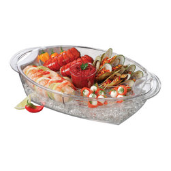 PRODYNE - Buffet on Ice Four-Compartment Vented Food Tray - Keep your favorite foods chilled even when the mercury's rising outside with this party-worthy buffet tray on ice. Let your lush displays of shellfish or sushi be the star of the show — the vented, crystal-clear trays mean you can keep your handiwork on the table for hours.