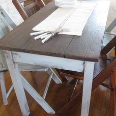 Eclectic  Farm Table and Wood Chairs