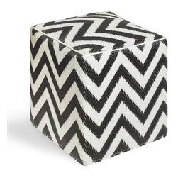 Laguna Cube in Black & White - This tried and true chevron pattern is classic in any setting.  Evoke a nautical theme or rouse a livelier side of things with the Laguna design.  Meticulously handmade by artisans, this stackable cube is suitable for outdoor use.  Made from recycled polypropylene and other materials suited for outdoors, this cube is weather and mildew resistant.  Sturdy enough to balance food and drinks, it can also double as seating for your guests.  Whether inside or out, this multipurpose cube can be used in so many ways!