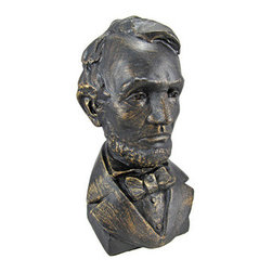 Bronze Finish Abraham Lincoln Bust Statue President - This cold cast resin bust of President Abraham Lincoln is a stunning addition to your home library and is a must have for lovers of history. Standing 10 3/4 inches tall, 6 inches wide and 5 1/2 inches deep, the statue has a beautiful antiqued bronze finish that gives it an aged look.