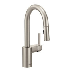"Moen - Moen 5965SRS Spot Resist Stainless Align Single Handle Bar Faucet with - Product Features:Faucet body constructed of metal to ensure durability and dependabilityCovered under Moen s limited lifetime faucet warrantyFinishes resist corrosion and tarnishing through everyday use - finish covered under lifetime warrantyThe Align Collection brings a refreshed modern look to your homeMoen sets the standard for exceptional beauty and innovative reliable designSingle handle operation for ease of usePullout spray faucet head with 68"" hose enhances faucets versatilitySpout swivels 360-degrees providing greater access to more areas of the sinkHigh-arch gooseneck spout design provides optimal room under the faucet for any size taskADA compliantLow lead compliant - faucet meets federal and state regulations for lead contentWaterSense Certified product - using at least 30% less water than standard 2.2 GPM faucets, while still meeting strict performance guide linesProduct Technologies / Benefits:Reflex: A technological innovation created based on input from actual faucet users, Reflex is made to work the way you do. Featuring exceptional range of motion, the spray wand on Reflex faucets swivels to optimize maneuverable range. Only pulldown faucets with the Reflex system will retract back to the docked position from any distance without assistance. Compared to other pulldown designs Reflex will also make the spray head up to 40% easier to unlatch.Duralast Cartridge: An exciting new proprietary cartridge design that offers a smooth feel and reliable operation of a new faucet from the first use to the last use. This new cartridge combines innovative engineering and the highest quality materials. It surpasses conventional durability standards to withstand the toughest conditions, including hard water.WaterSense/Eco-Performance:"