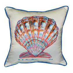 Betsy Drake - Betsy Drake Scallop Shell Pillow- Indoor/Outdoor - Scallop Shell Pillow- Large indoor/outdoor pillow. These versatile pillows are equal at enhancing your homes seaside decor and adding coastal charm to an outdoor setting arrangment. They feature printed outdoor, fade resistant fabric for years of wear and enjoyment. Solid back, polyfill. Proudly made in the USA.