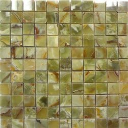 "Marbleville - Dark Green Onyx 1"" x 1"" Polished Mesh-Mounted Mosaic in 12"" x 12"" Sheet - Premium Grade Dark Green Onyx 1"" x 1"" Square Pattern Polished Finsih Mesh-Mounted Onyx Mosaic is a splendid Tile to add to your decor. Its aesthetically pleasing look can add great value to any ambience. This Mosaic Tile is made from selected natural stone material. The tile is manufactured to high standard, each tile is hand selected to ensure quality. It is perfect for any interior projects such as kitchen backsplash, bathroom flooring, shower surround, dining room, entryway, corridor, balcony, spa, pool, etc."