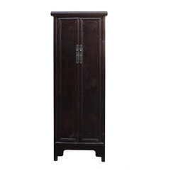 Golden Lotus - Chinese Rustic Brown Lacquer Narrow Slim Cabinet Cupboard - This is an oriental Chinese style slim cabinet with minor A shape look. The surface is rough rustic lacquer finish. Inside has a removable shelves for storage.